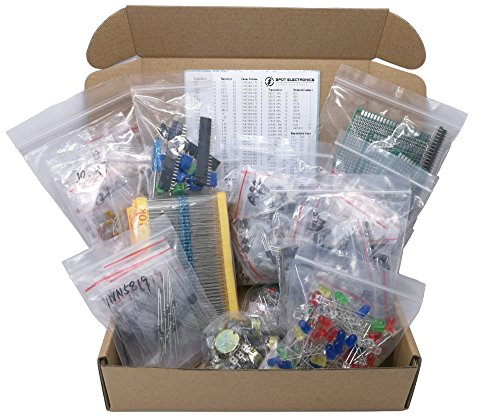 XL Electronic Component Kit Assortment, Capacitors, Resistors, LED, Transistors, Diodes, Zener, Potentiometers, 1650 pcs by 3pdt