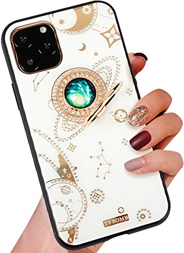 Case for iPhone 11 Pro Max 6.5 Inch, Aulzaju iPhone 11 Pro Max Bling Hybrid Raised TPU Edge Hard PC Back Case for iPhone 11 Pro Max with Shiny Moon Ring Stand[Anti-yellow,Jewels Never Come off]-Silver 51qZngH4lML
