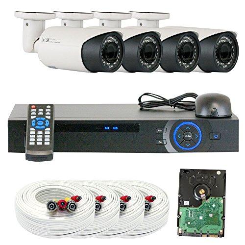 GW Security Inc VD4CHC5 4 Channel HDCVI DVR Security Camera System with 4 x 1/2.9 HDCVI Color IR CCTV 1.0 MP Security Camera