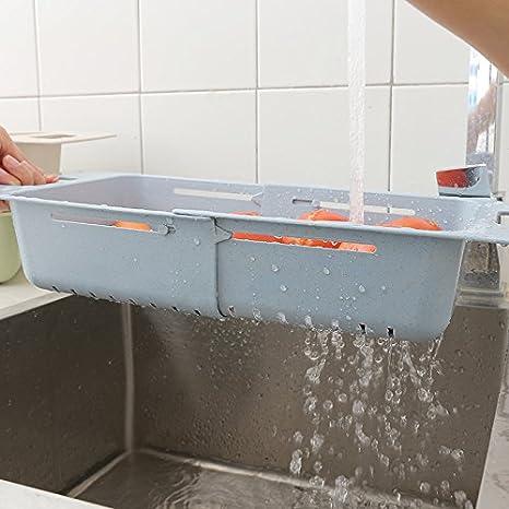 forma de plato bandeja de goteo Cocina de cesta de agua retráctil suministros de limpieza de verduras de frutas de lixiviación estante de protección ambiental material plástico cocina cesta de fugas: Amazon.es: