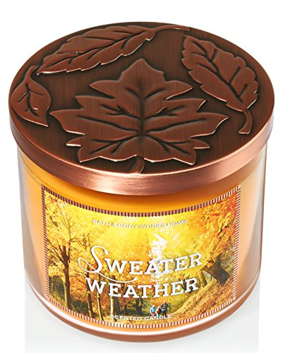 Bath and Body Works Sweater Weather Candle - 14.5 oz Large 3-wick Candle for Fall