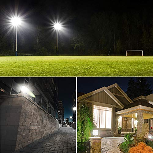 LEPOWER New Craft 2 Pack 150W LED Flood Light, 11000lm Super Bright Work Lights with Plug, 6500K White Light, IP66 Waterproof Outdoor Floodlights Fixtures for Garage, Playground, Basketball Court,Yard by LEPOWER (Image #6)