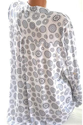 Size Longues Manches Chemise Xinwcang Top Chemisier Pois Plus Imprimer Femmes Hauts Casual Blanc Button E7xqf