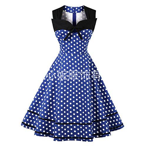punto de Cuello de Circular Vestidos cóctel Azul larga mujer de Retro EU Luckywe de cuadrado manga 42 para qXzg5ww