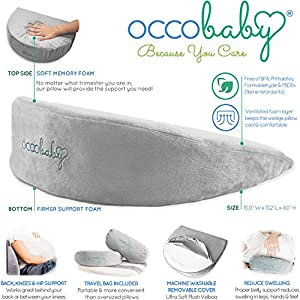 OCCObaby Pregnancy Pillow Wedge | Memory Foam Maternity Pillow for Body, Belly, Knees and Back Support