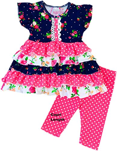 Angeline Little Girls Spring Summer Floral Tiered Pink Polka Dots Capri Set 9/4XL