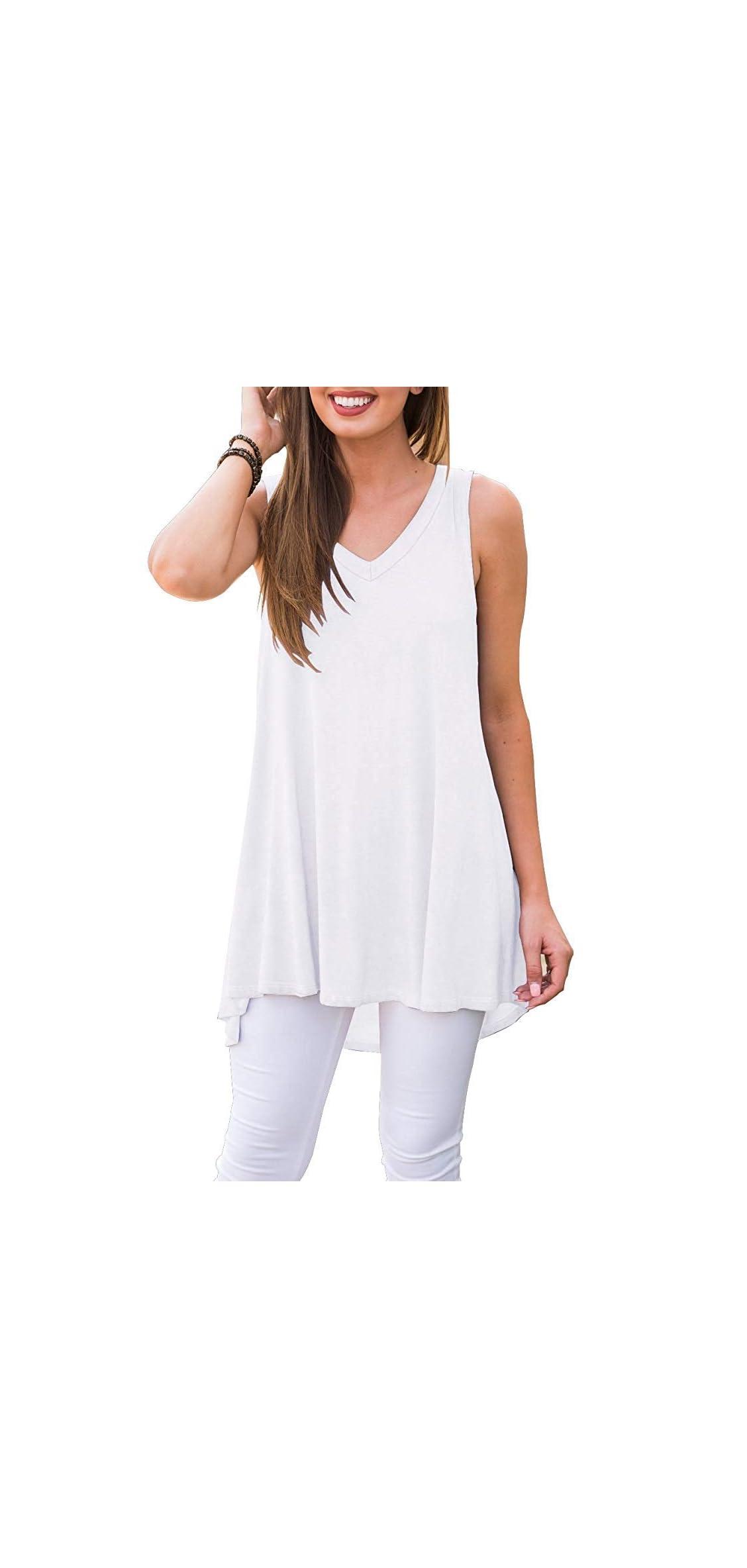 Women Summer Sleeveless V-neck Hi-low T-shirt Tunic Top