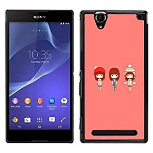 // PHONE CASE GIFT // Duro Estuche protector PC Cáscara Plástico Carcasa Funda Hard Protective Case for Sony Xperia T2 Ultra / Cute Japanese Girls /