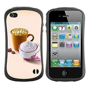 "Hypernova Slim Fit Dual Barniz Protector Caso Case Funda Para Apple iPhone 4 / iPhone 4S [Diseñar Whip lindo café""]"