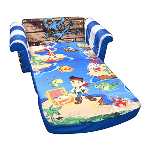 Marshmallow Fun Furniture Jake and The Neverland Pirates Flip Open Sofa (Slumber Kids Furniture)