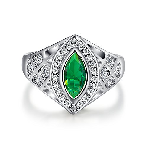 Psiroy 925 Sterling Silver Marquise Cut Created Emerald Quartz Filled Ring Band for Women
