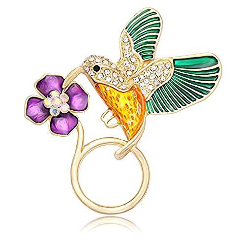 NOUMANDA Jewelry Hummingbird Magnetic Eyeglass Holder Emerald Bird Magnetic Brooch (Gold)