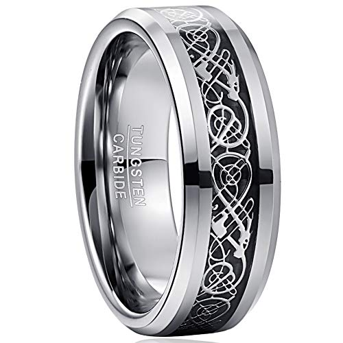 VAKKI Celtic Dragon Tungsten Ring for Men Women 8mm Black Carbon Fiber Wedding Bands Size 12