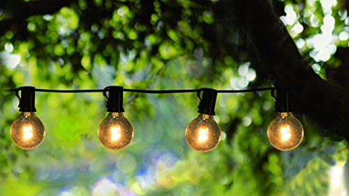 [Goothy Globe String Lights with G40 Bulbs (25ft.) UL Listed Backyard Patio Lights Garden Bistro Party Natural Warm Bulbs Cafe Hanging Umbrella Lights on Light String Indoor Outdoor-Black] (Party On The Patio)