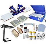 4 Color Screen Printing Kit Screen Printing Press T-shirt Hobby Bundle DIY With Exposure Unit