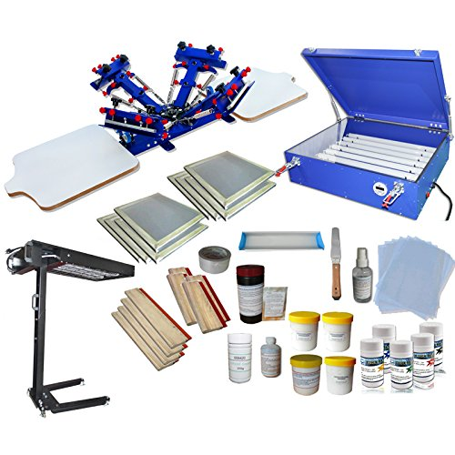 4 Color Screen Printing Kit Screen Printing Press T-shirt Hobby Bundle DIY With Exposure Unit by Screen Printing Kit