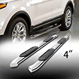"4"" Oval Side Step Rails Nerf Bar Running Boards With Bent Ends Fit 2004-2008 Ford F150 2006-2008 Lincoln Mark LT Supercrew / Crew Cab (With 4 Full Size Doors)"