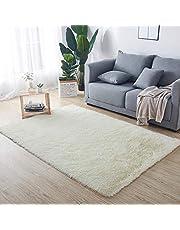 HETOOSHI Luxe fluwelen Shag gebied tapijt moderne indoor pluche pluizige tapijten extra zacht en comfortabel tapijt anti-slip yogamat slaapkamer vloer bank woonkamer Shaggy nachtkastje tapijten (melkachtig 80 x 120 cm)