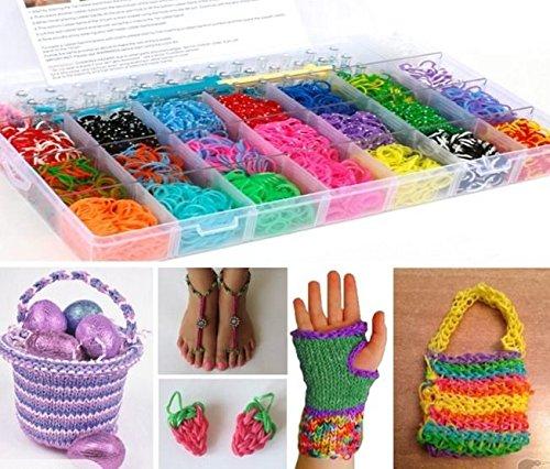 GadgetinBox™ - 4200 Stücke Regenbogen Webstuhl-Bänder stellten Box Gummi Armband Mit Merkblatt , Set mit 100 Clips CRAFT KIT - Große Qualität Looms