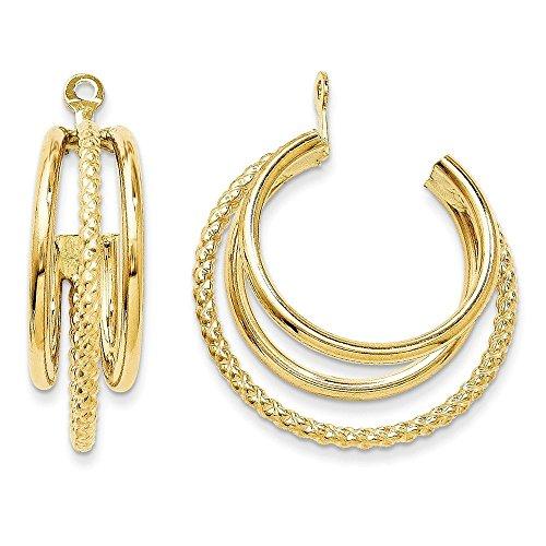 14k Polished and Twisted Triple Hoop Earrings Jackets - 3/8