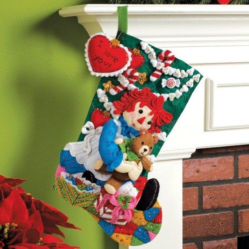 - Bucilla 18-Inch Christmas Stocking Felt Applique Kit, 86236 Christmas Morning