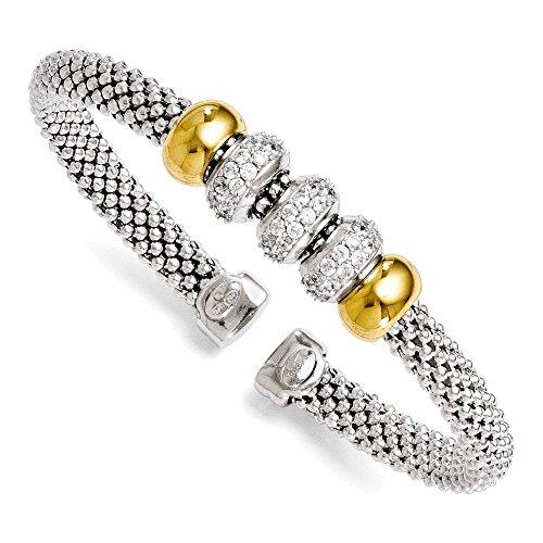 Jewelry Adviser Bangle Bracelets Leslie's Sterling Silver Gold-tone 18k Flash Plated CZ Flexible Bangle