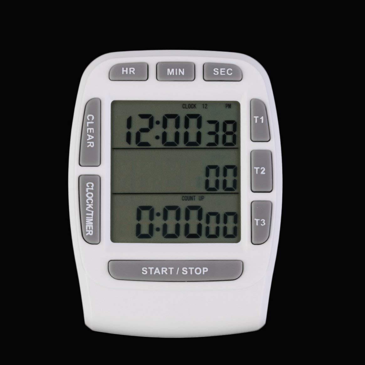 Delicacydex 1 Pcs Triple Minuterie Horloge Cuisine Cuisine 3-Ligne Alarme LCD Numérique Count Down