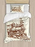 Ambesonne Steam Engine Duvet Cover Set Twin Size, Old Times Train Vintage Hand Drawn Iron Industrial Era Locomotive, Decorative 2 Piece Bedding Set with 1 Pillow Sham, Ivory Pale Caramel