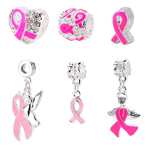 (BEADNOVA Pink Ribbon Pendants Set Breast Cancer Awareness Bead Pink Ribbon Charm European Style Beads for Jewelry Making Necklace Bracelet)