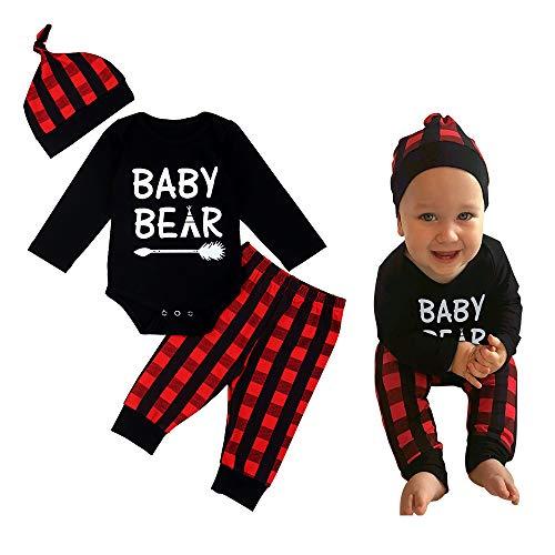 Newborn Baby Boy Clothes Christmas Outfit Baby Bear Long Sleeve Romper,Plaid Pants + Cute Hat 3pcs Set