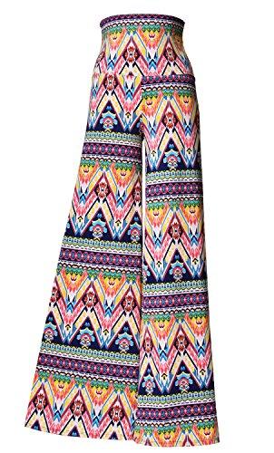 VIV Collection Stretchy Wide Leg Printed Palazzo Pants (Medium, Colorful ()