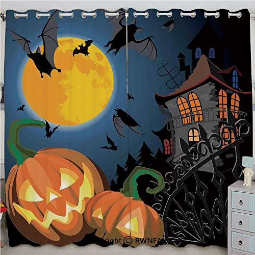 Justin Harve window Gothic Halloween Haunted House Party Theme Decor Trick or Treat for Kids Grommet Top Blackout Curtains Set of 2 Panels(100