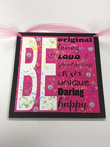 Be Unique Daring Happy Girls Bedroom Wall Art Sign Peace Love 9x9
