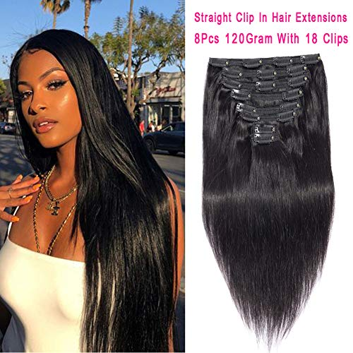 Brazilian Virgin Hair Straight Clip in Hair Extensions Straight Hair Clip Ins 8A Thick Soft Remy Hair for Black Women Natural Black Color Double Weft 8 Pieces ()
