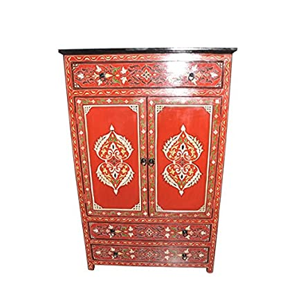 Red Handpainted Moroccan Cabinet Handmade Armoire Wardrobe Dresser