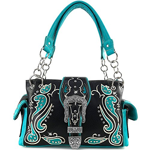 Floral Design Stud - Justin West Western Purse Tooled Laser Cut Floral Design Studs Rhinestone Buckle Concealed Carry Handbag (Turquoise)