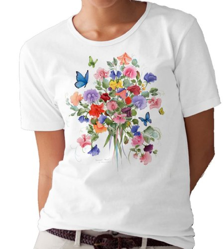 (Sweet Peas and Butterflies T-Shirt/tee by Valerie Pfeiffer - XX-Large White)