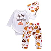 Thanksgiving Gift Infant Baby Boy Girl Clothes Romper Pants Leggings 3PCS (0-6 Months, White)