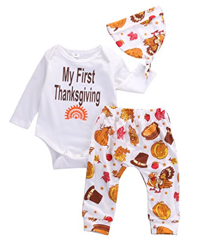 Thanksgiving Gift Infant Baby Boy Girl Clothes Romper Pants Leggings 3PCS (3-6 Months) (First Halloween Outfit)
