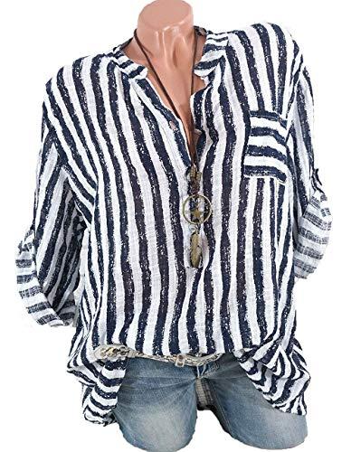 Lunga Donne Shirt Scollo Dei Moda Camicie Shallgood Blu Delle Camicia Bottoni Camicetta Striscia Elegante Solidi Nuove Chiffon V Collo Top T Ufficio Blusa Manica CwSqFIqW5