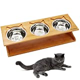Petilleur Cat Bowls Pet Dining Table with Raised Slope Wooden Stand Elevated Pet Bowls with Oblique Stand for More Comfortable Eating for Cats, Dogs, Kitten and Puppy (Stainless Steel)