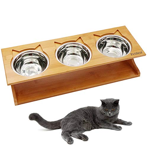 Petilleur Cat Bowls Pet Dining Table with Raised Slope Wooden Stand Elevated Pet Bowls with Oblique Stand for More Comfortable Eating for Cats, Dogs, Kitten and Puppy (Stainless -
