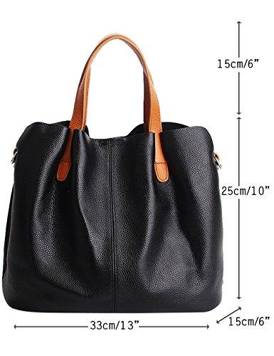 CUKKE Damen Echtes Leder Handtasche Elegant Taschen 2pcs Grau Schwarz oHv8K5oMD