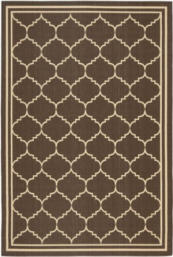 Safavieh Courtyard Collection CY6889-204 Chocolate and Cream Indoor/ Outdoor Area Rug (6'7