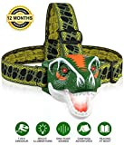 BROADREAM Headlamp, T-Rex Dinosaur Toys LED Headlamp for Kids Camping, Hiking & Reading in Dark, 3 Bright Illumination Modes, Loud Dino Roar Sounds, 3AAA Batteries, Great Kid Toys & BD Gifts