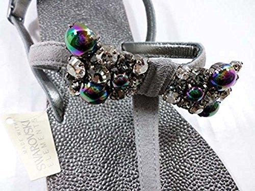 EDDY DANIELE 37 EU Sandalias Chanclas Mujer Gris Gamuza / Cristales Swarovski AW154