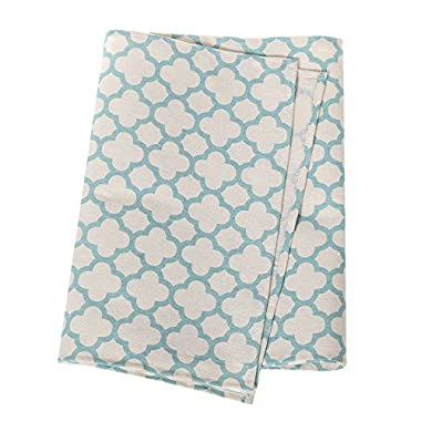 Ling's moment 12 x 108 inch 9FT Village Blue and Ivory Moroccan Geometric Canvas Cotton Table Runner