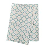 Ling's moment 12 x 72 inch 6FT Village Blue and Ivory Moroccan Geometric Canvas Cotton Table Runner