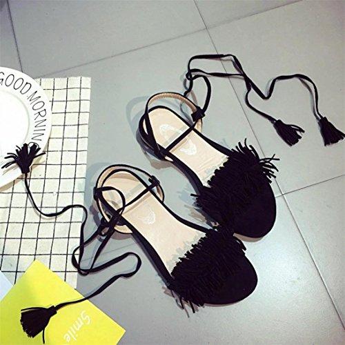 Digood Mode Sandaler För Kvinnor, Damer Teen Flickor Tofsar Peep-toe Toffel Tillfälliga Platta Skor Svarta