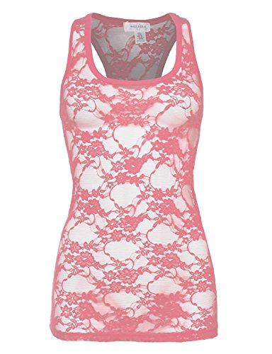 Bozzolo RT2628 Sexy Full Lace Long Racerback Tank Top Rose - Lace Racerback Cami